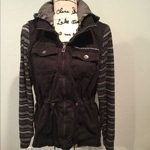 Maurices jacket black with knit sleeves